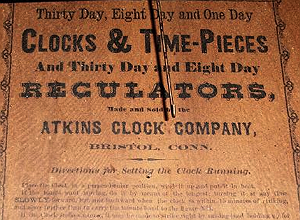 Atkins Clock Co. c. 1864 paper label