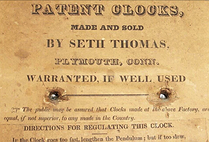 Seth Thomas c. 1828 paper label