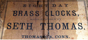 Seth Thomas c. 1868 paper label