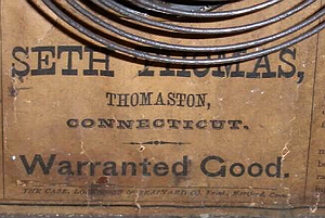 Seth Thomas c. 1875 paper label