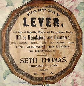 Seth Thomas c. 1890 paper label