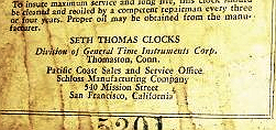 Seth Thomas c. 1931 paper label