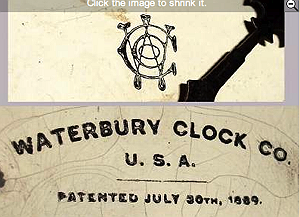 Waterbury trademark c. 1891 lettered label